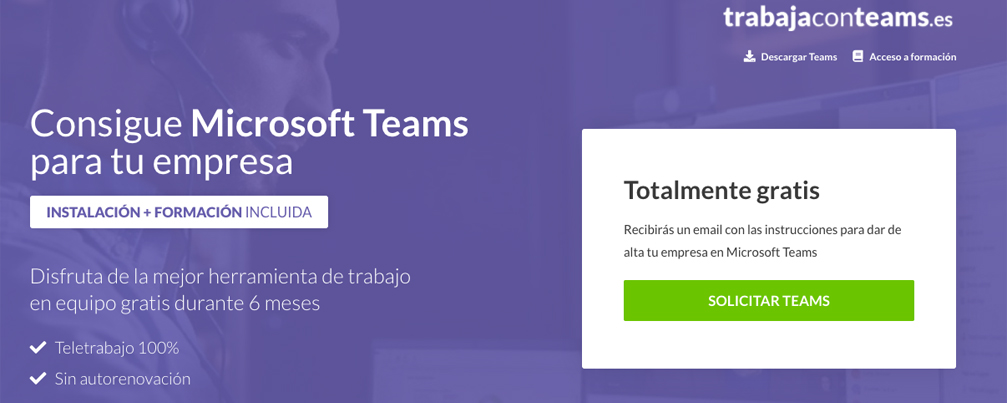 Teletrabaja con Teams, gratis durante 6 meses